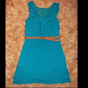 Medium teal belted dress